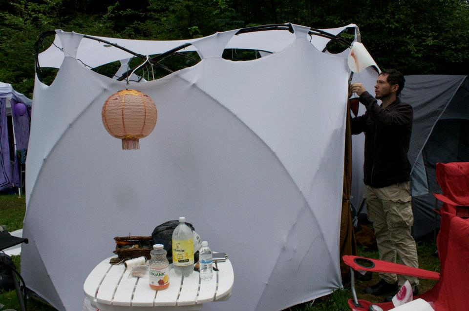 Firefly yurt made from bamboo and cloth.